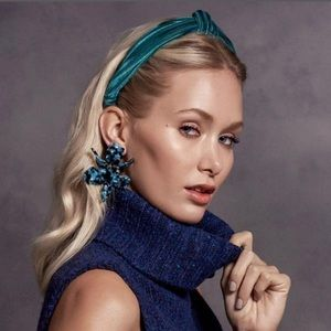 Lele Sadoughi Paper Lily earrings night blue NEW